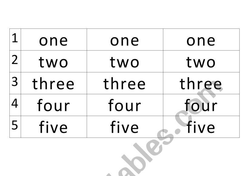 number name tracing 1-5 - ESL worksheet by kirakiraboshi