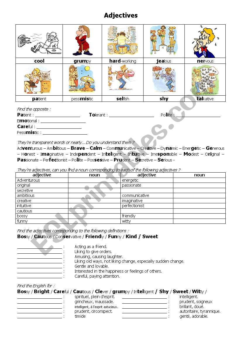 adjectives about personality worksheet