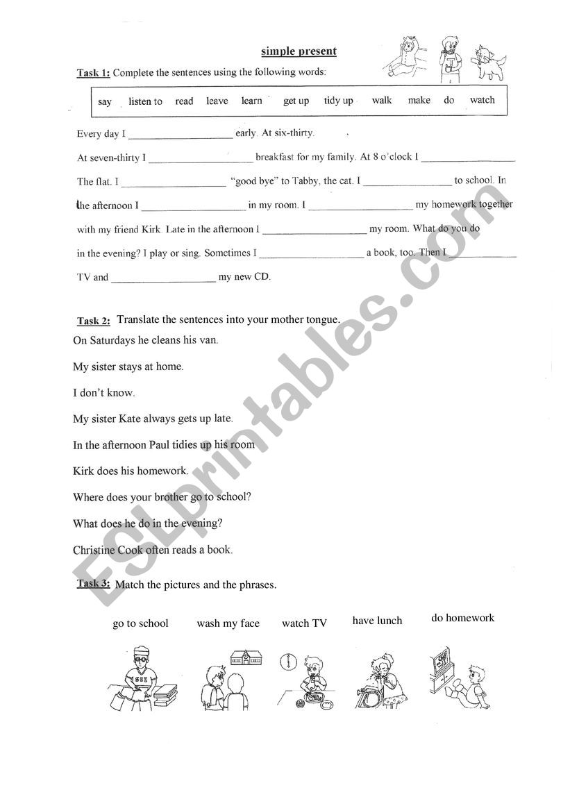 simple present daily routine worksheet