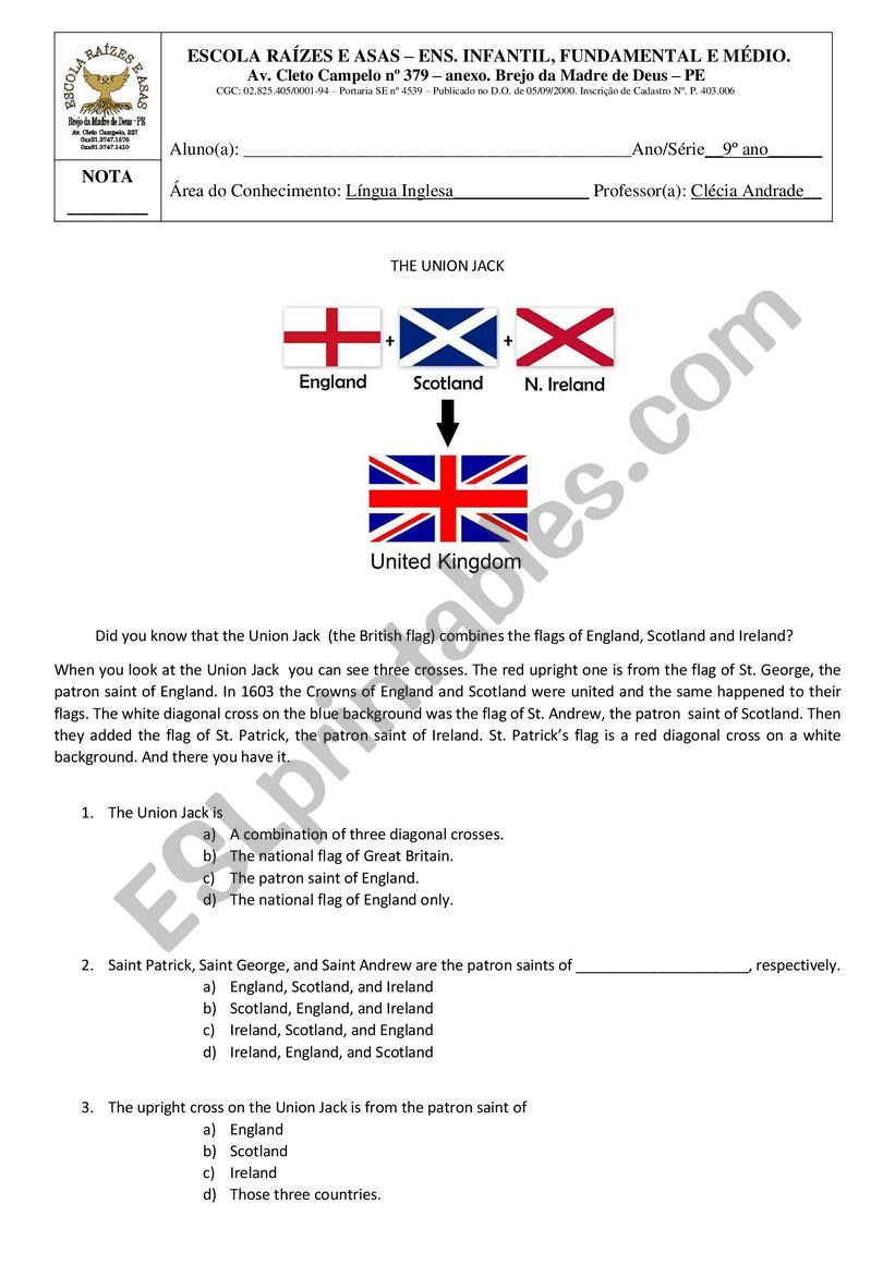 The Union Jack worksheet