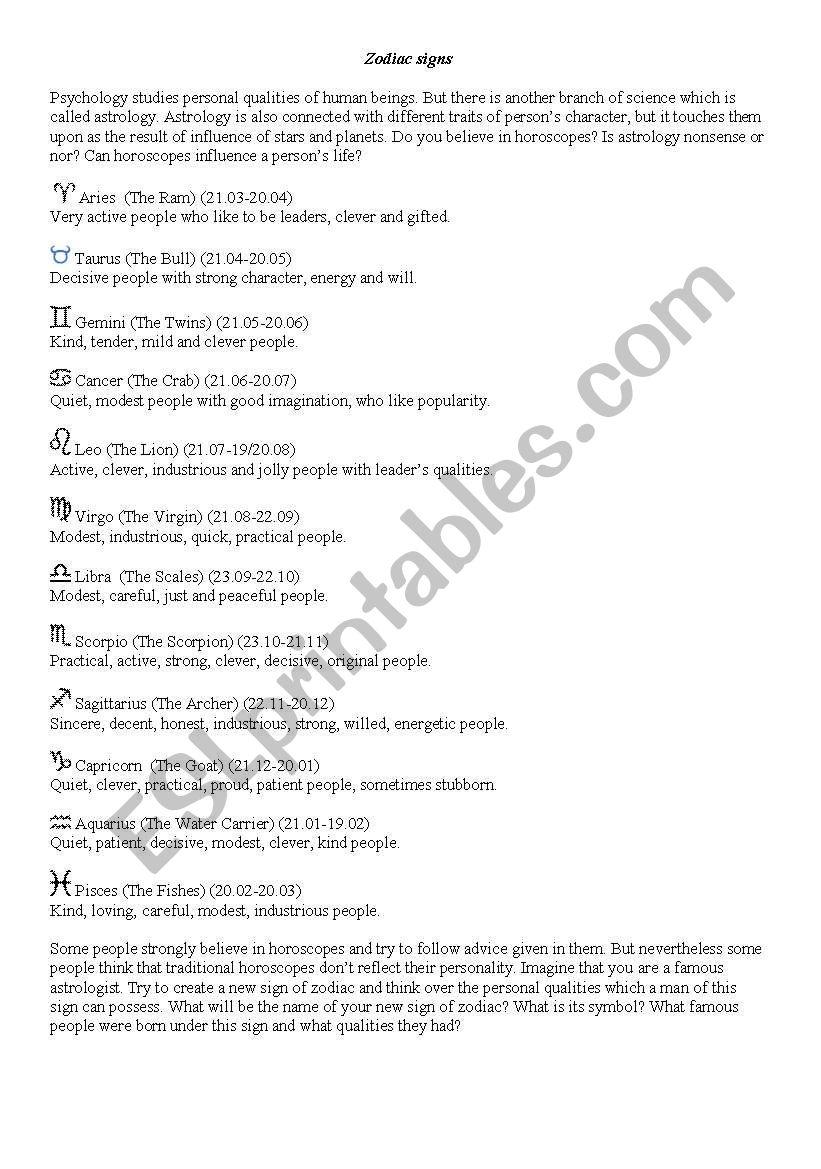 Signs of Zodiac worksheet