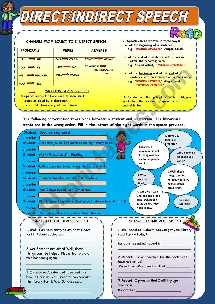 Direct/Indirect Speech worksheet