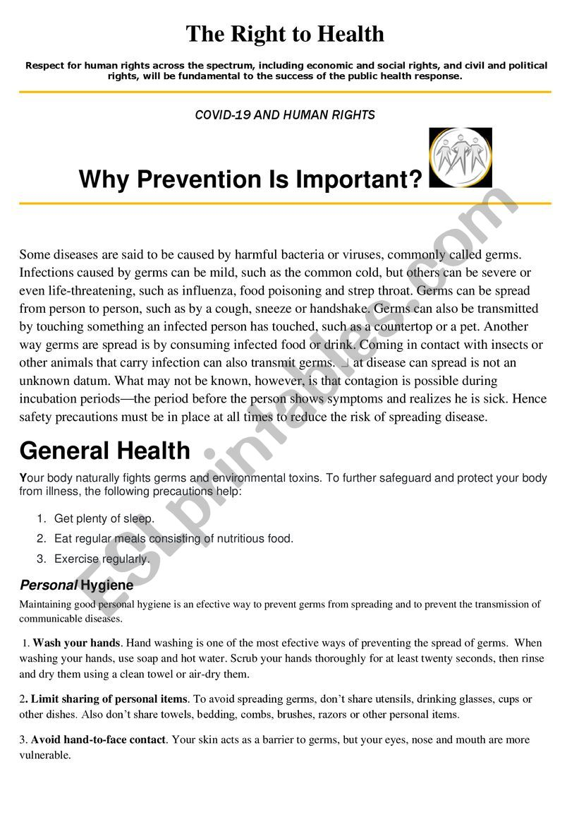 Why is prevention important? worksheet