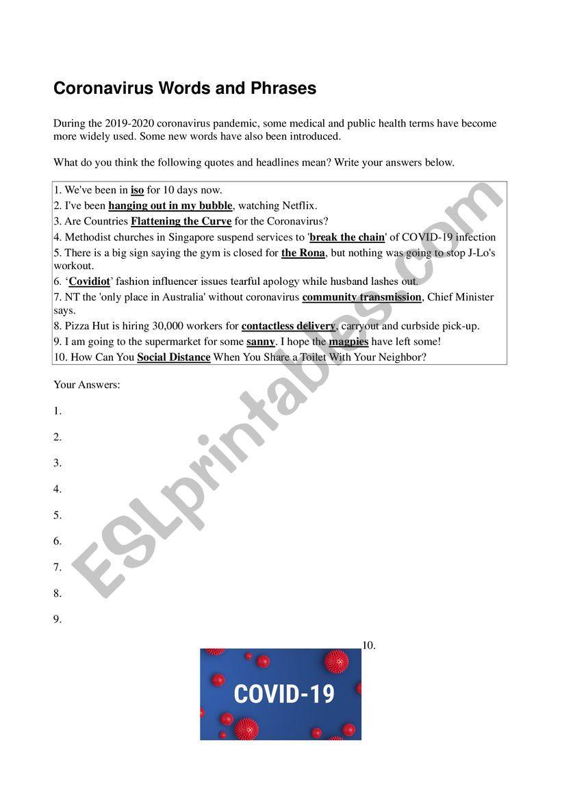 Coronavirus Words and Phrases worksheet
