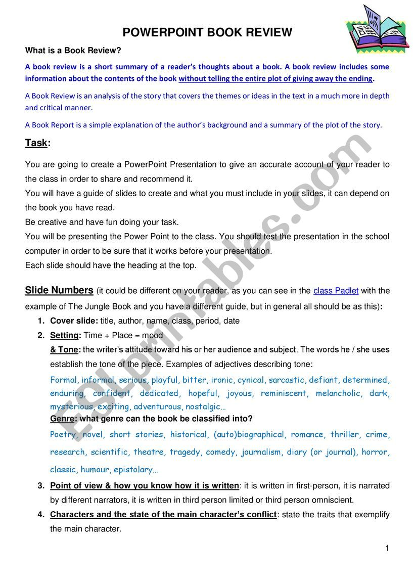 Presentation of a Book Review worksheet
