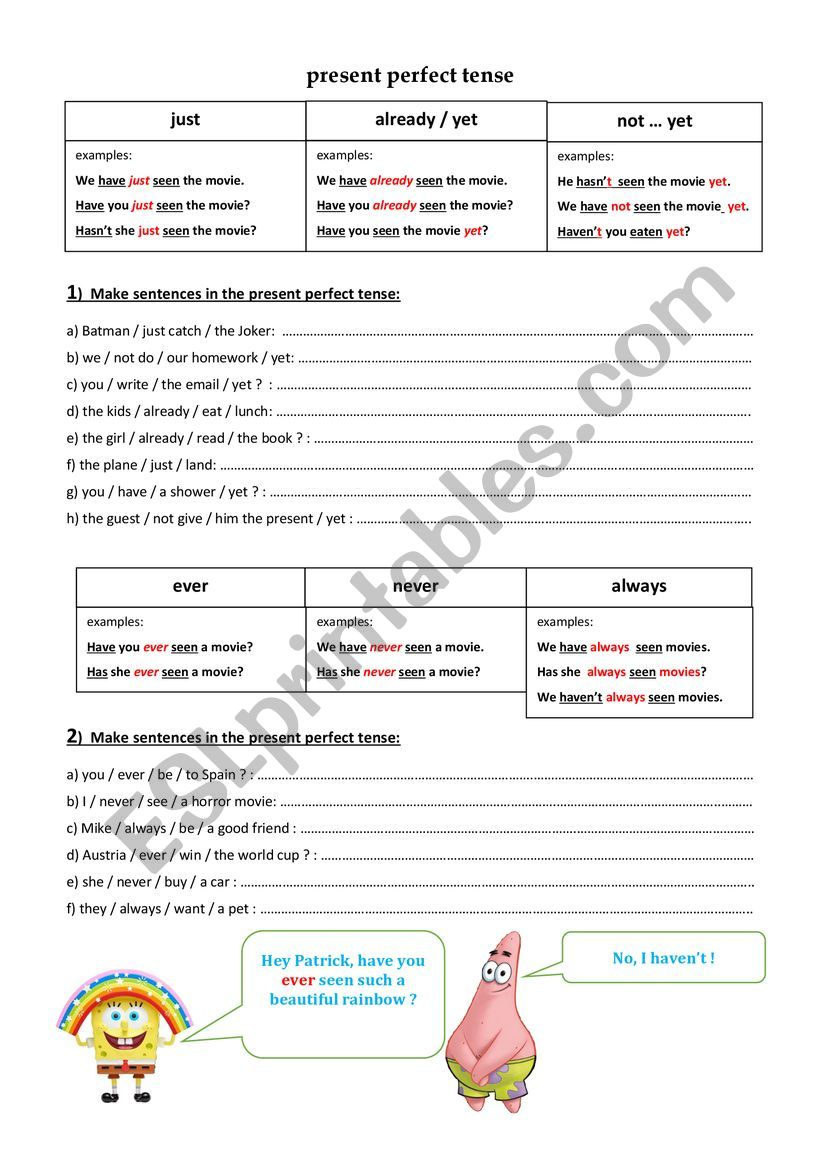 present perfect tense - sentence building - ESL worksheet by Elromo