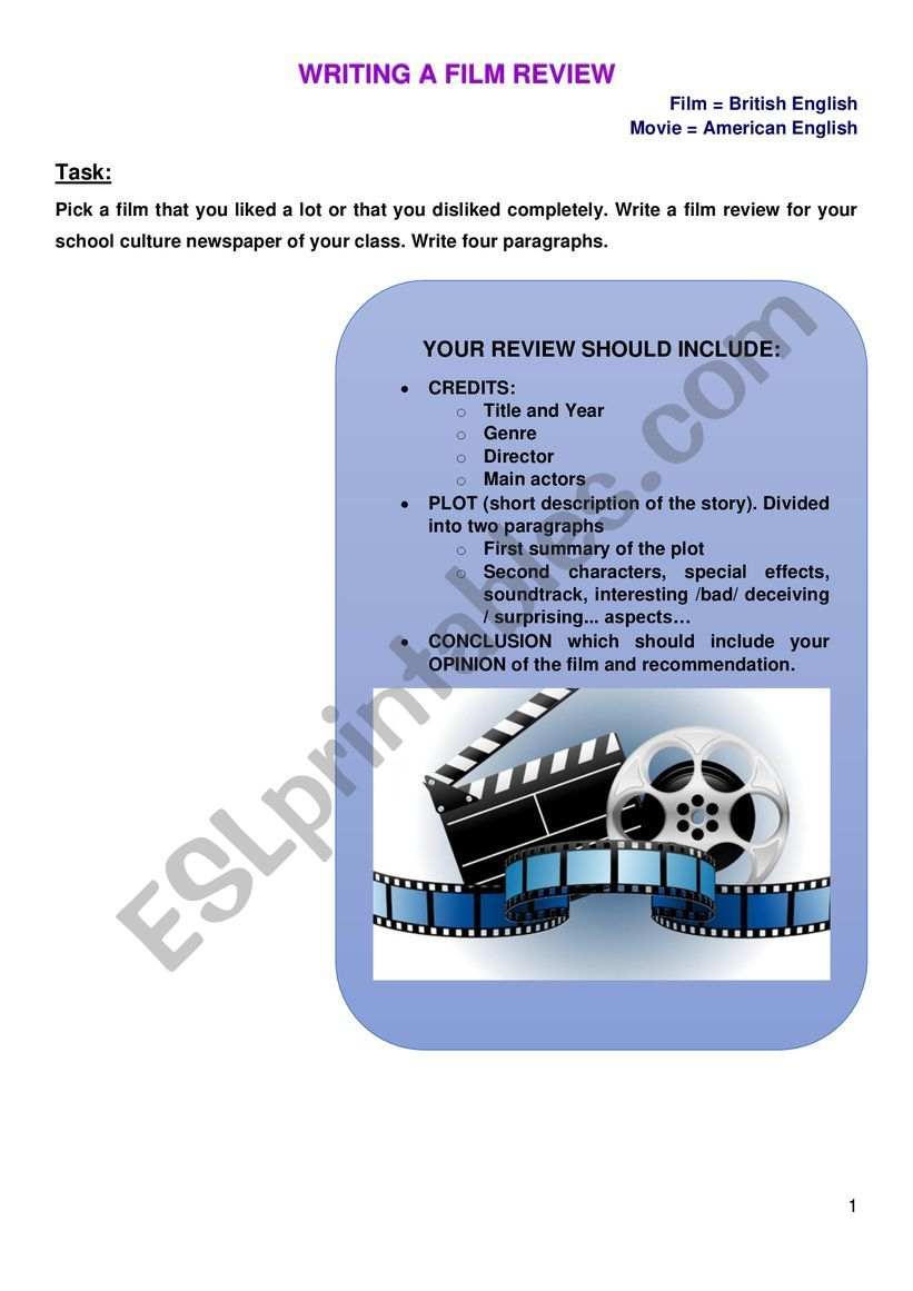 Writing a Film review guide worksheet
