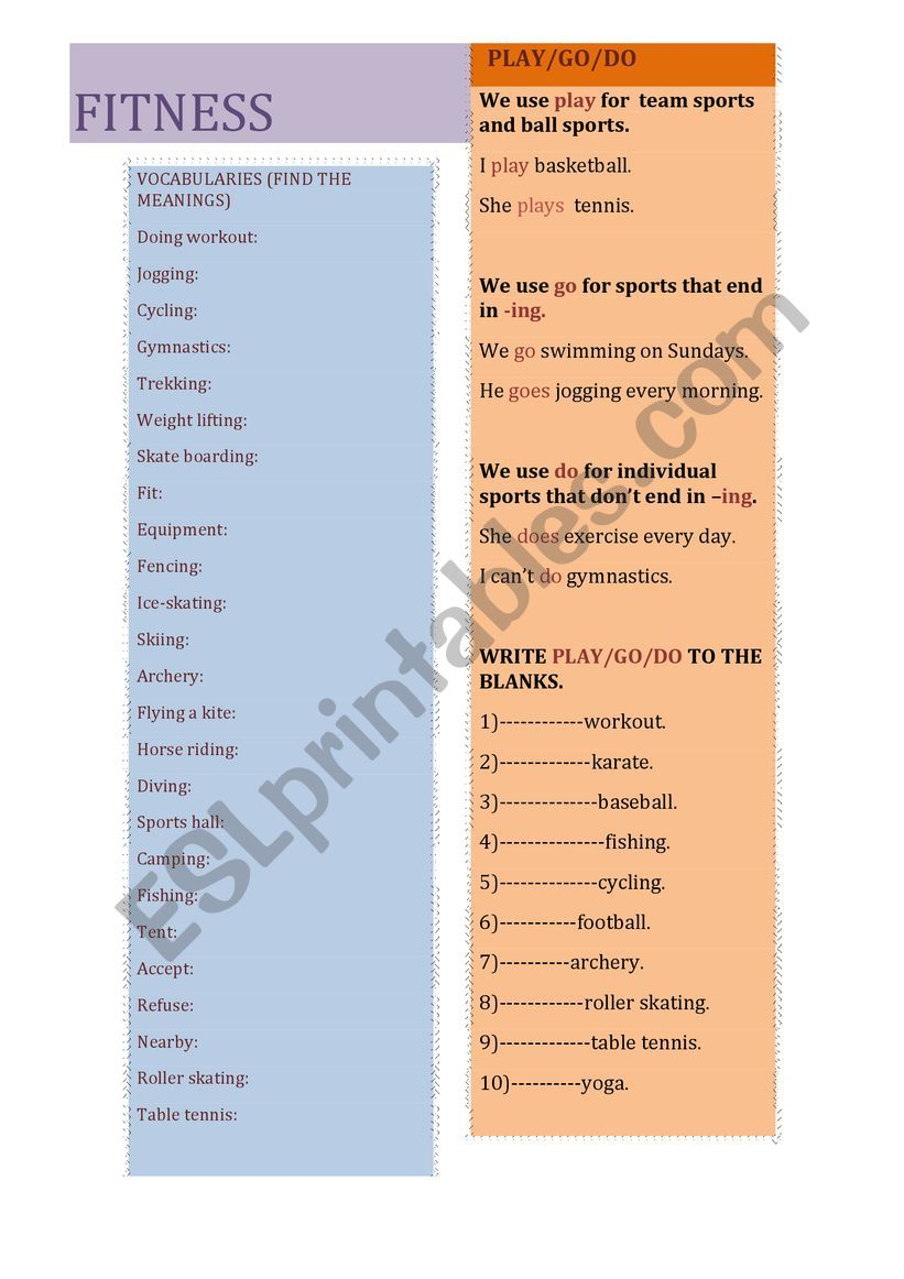 fitness worksheet