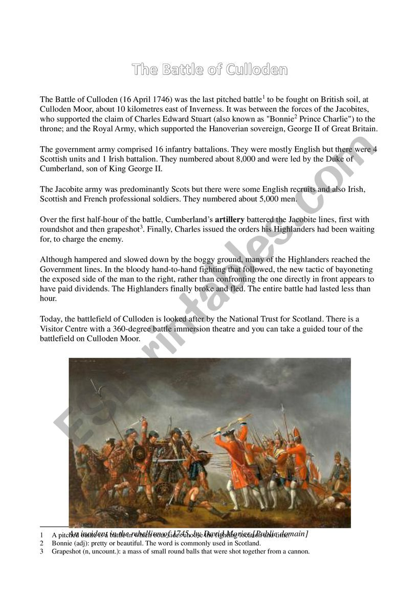 The Battle of Culloden worksheet