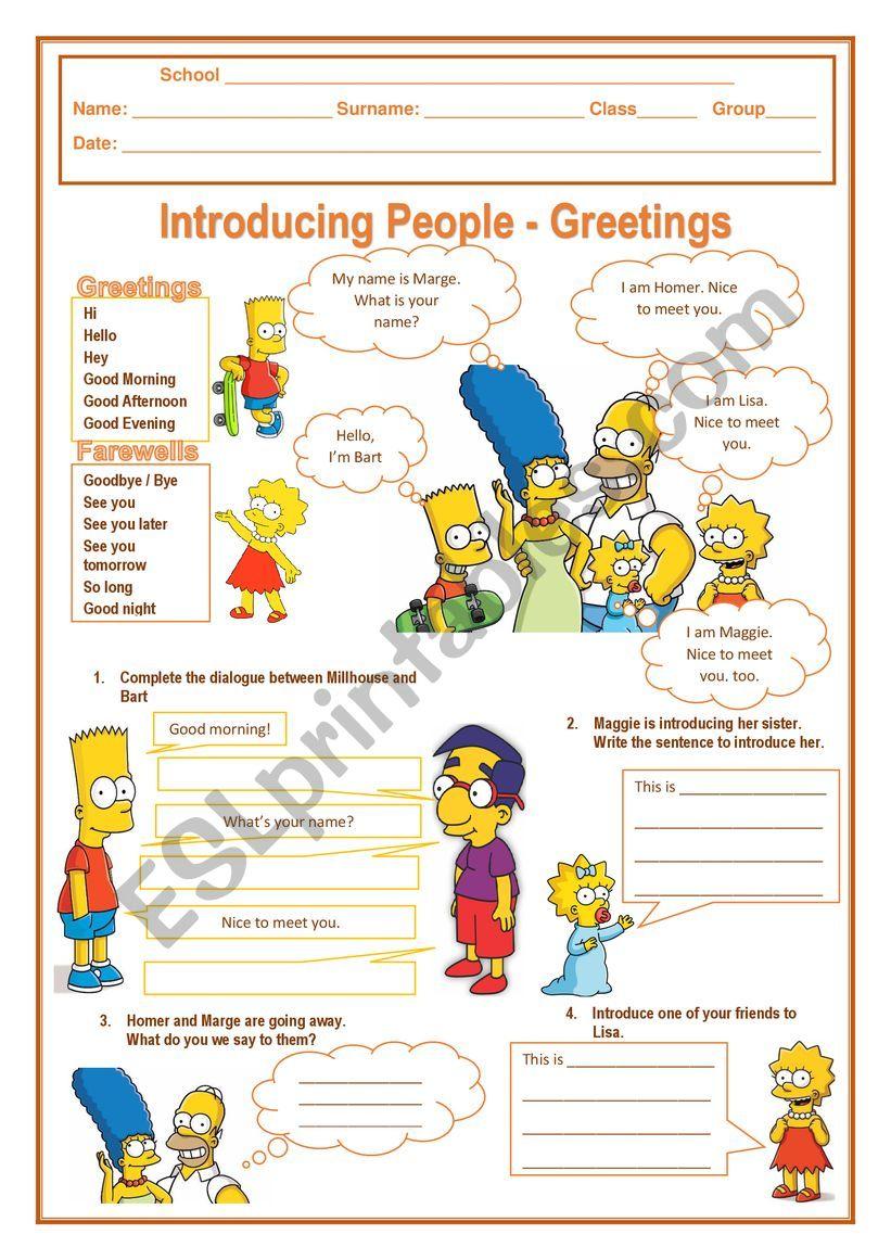 introducing people  greetings  esl worksheetrody