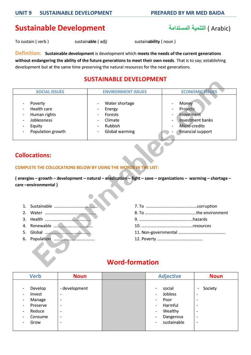 sustainable development worksheet