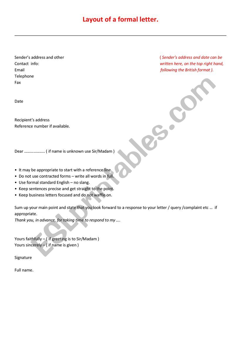 Official Letter In English from www.eslprintables.com