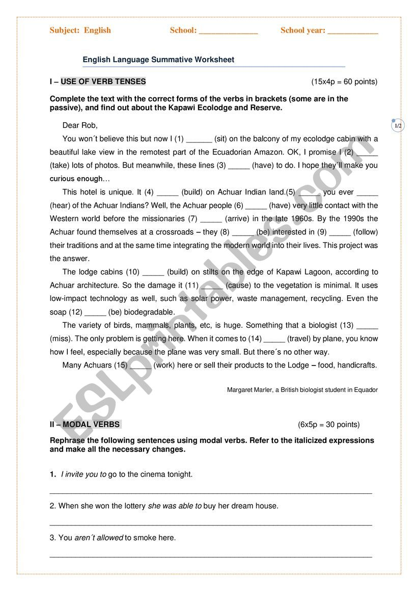 Summative worksheet worksheet