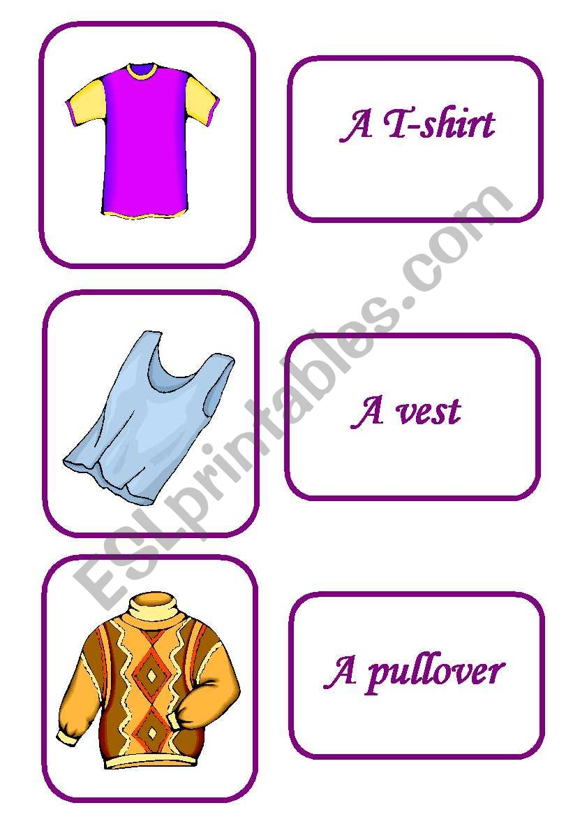 clothes memory game 1 / 12 worksheet