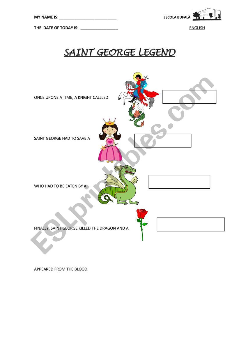 saint george legend worksheet