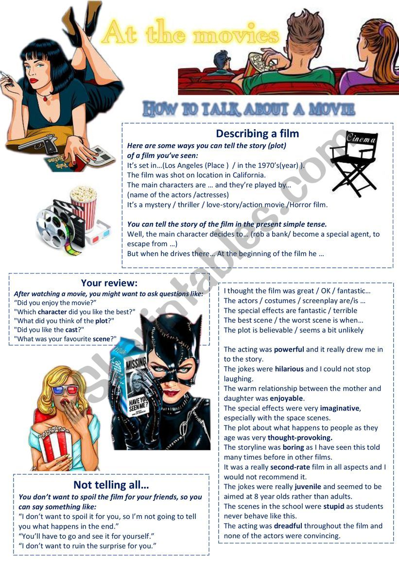 At the movies 1 How to talk about a movie and write a review