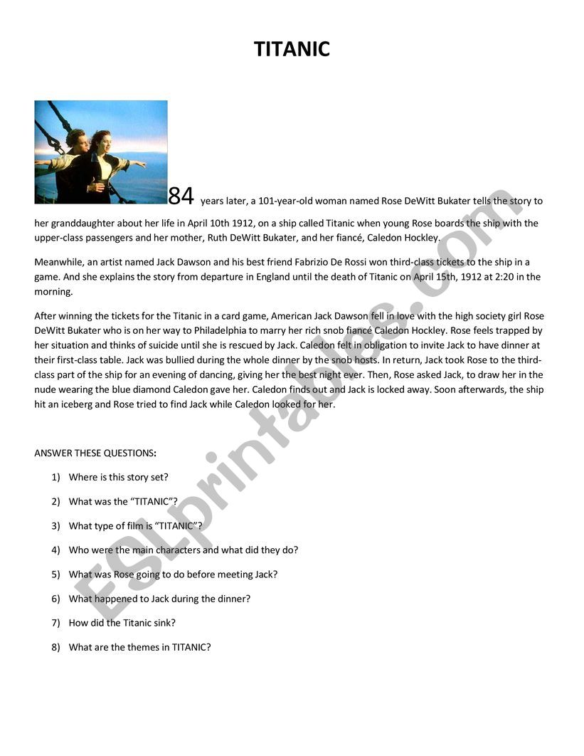 Titanic - movie review worksheet