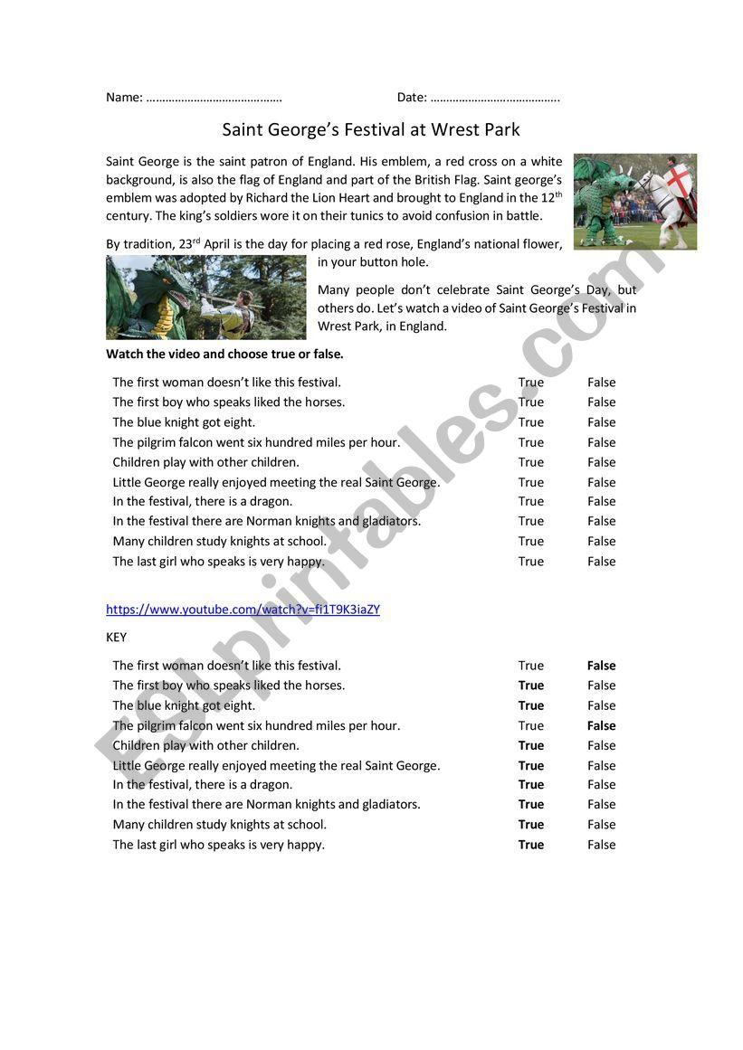 Saint George�s Festival worksheet