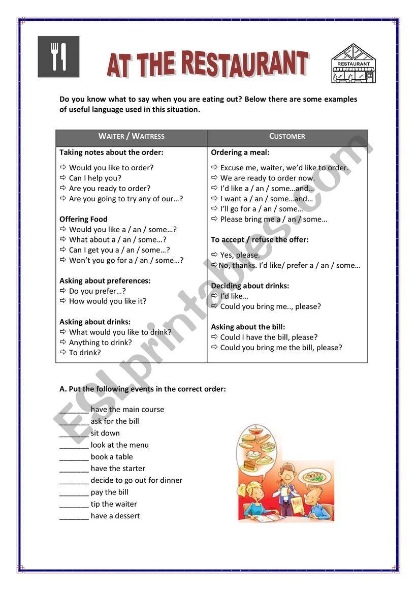 restaurant worksheet