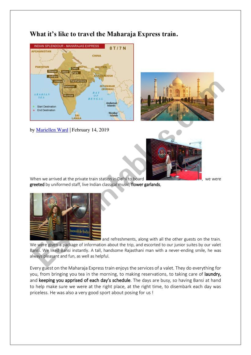 Travelling aboard the Maharajas� Express in India