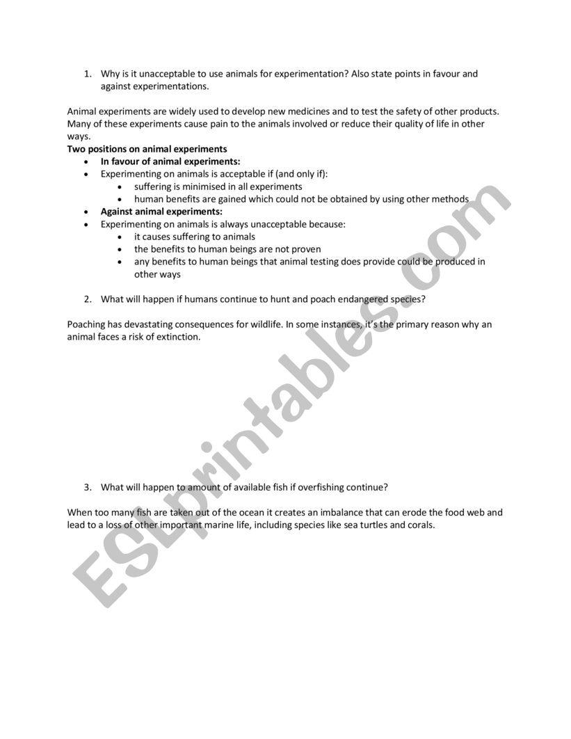 human and animals worksheet