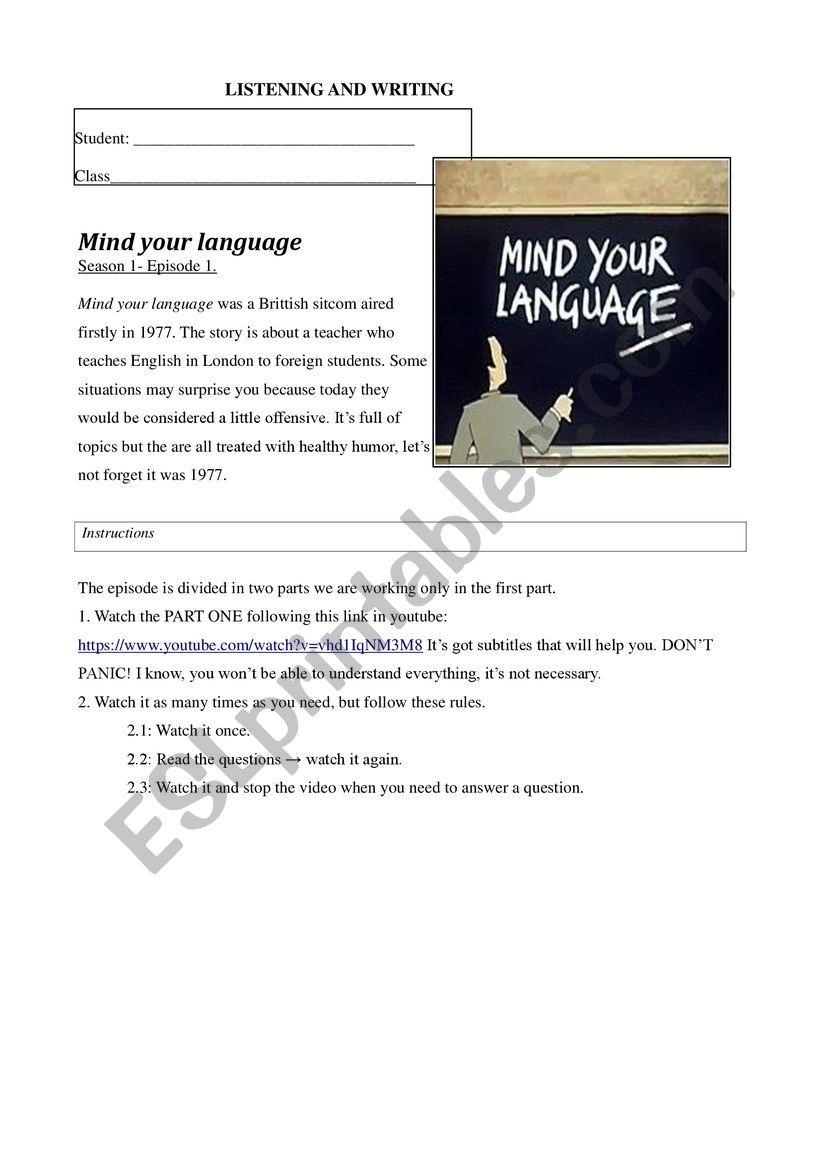 Mind your language - Elementary English episode- based worksheet -