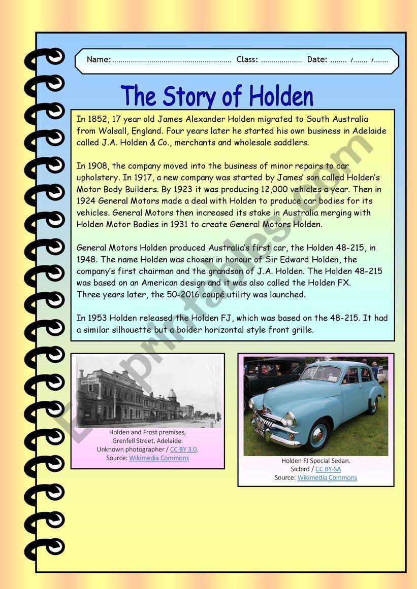 The Story of Holden worksheet