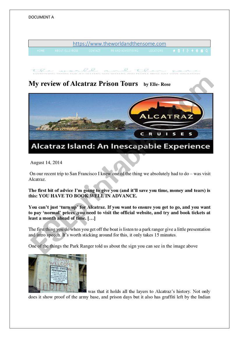Alcatraz as Disneyland worksheet