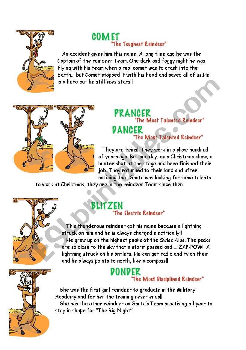 The Eight Santa S Reindeer Esl Worksheet By Beasantander
