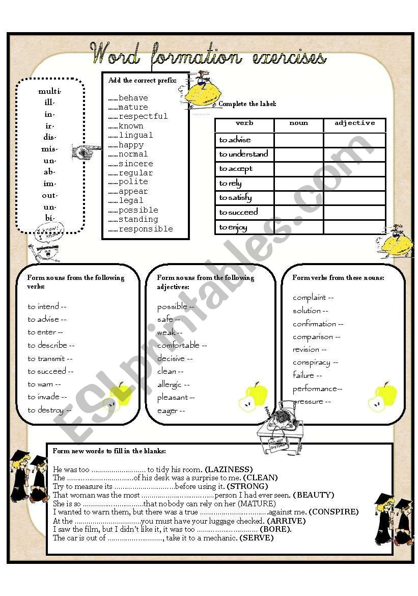 WORD FORMATION EXERCISES worksheet
