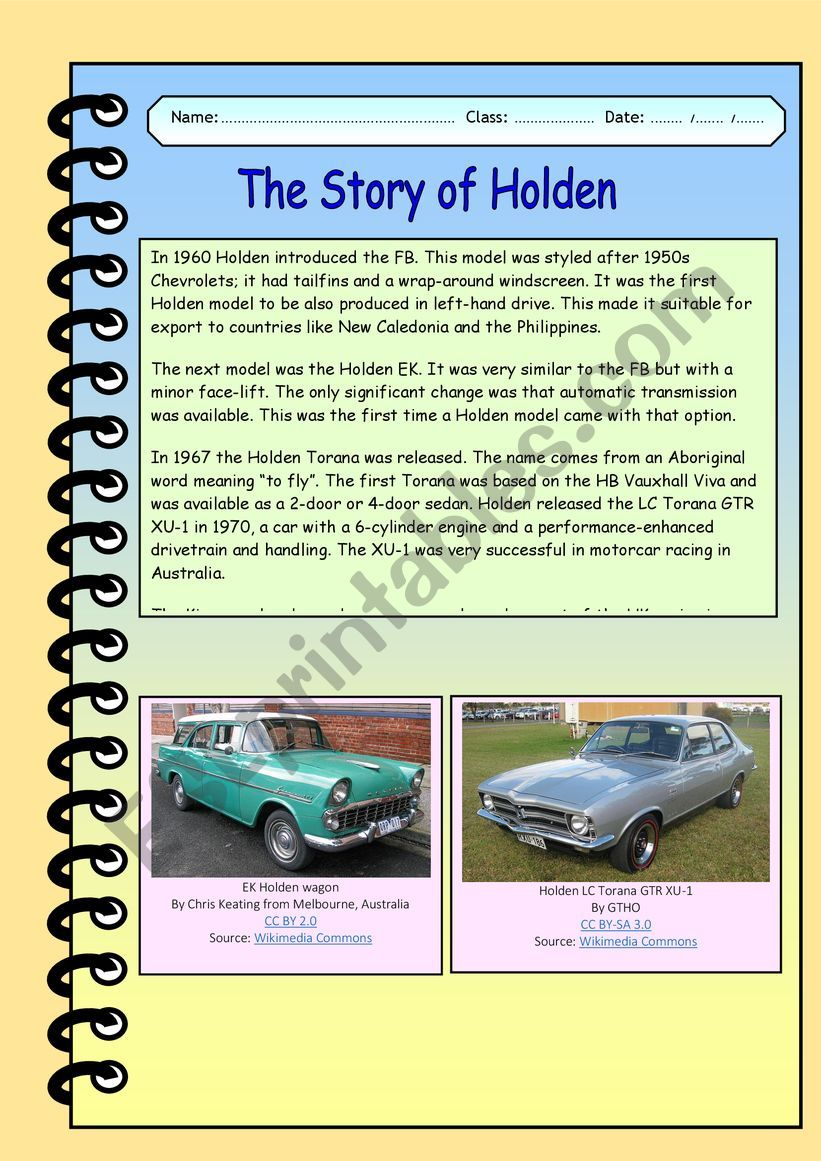 The Story of Holden - Part 2 worksheet