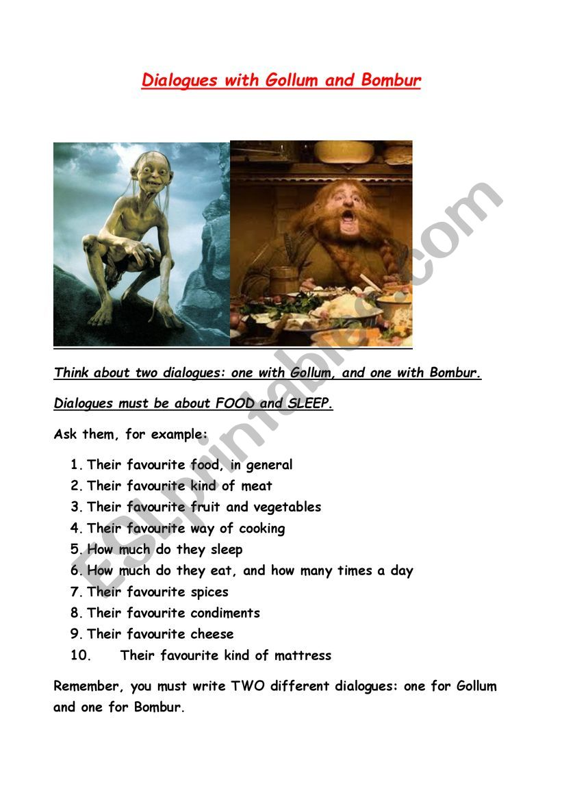 Dialogues with Gollum and Bombur