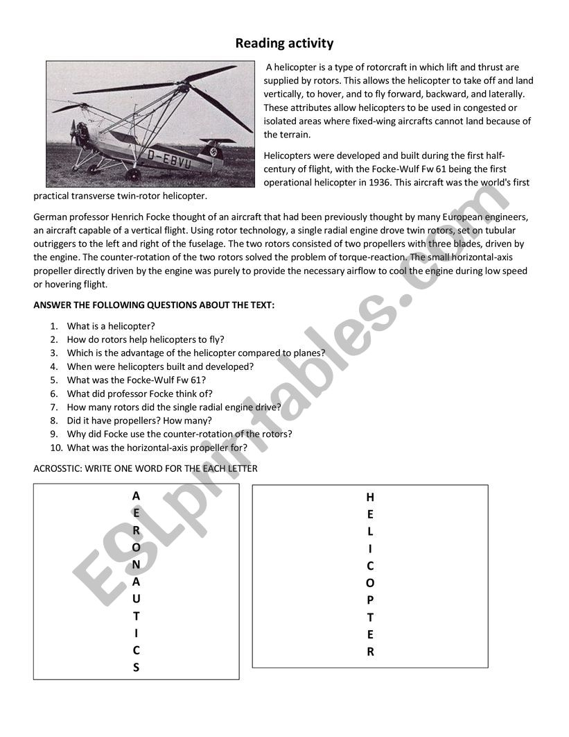 HISTORY OF HELICOPTERS worksheet