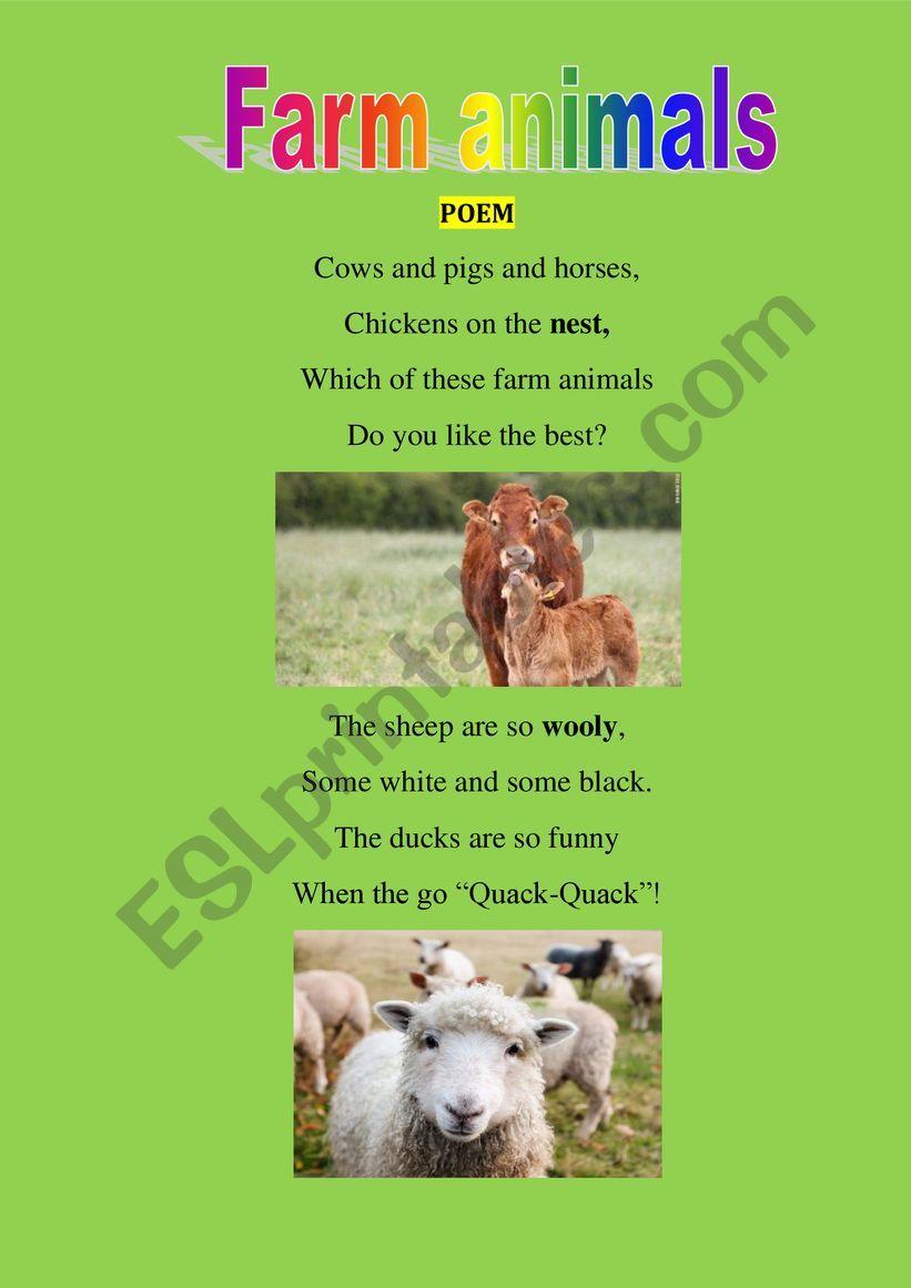 Farm animals poem worksheet