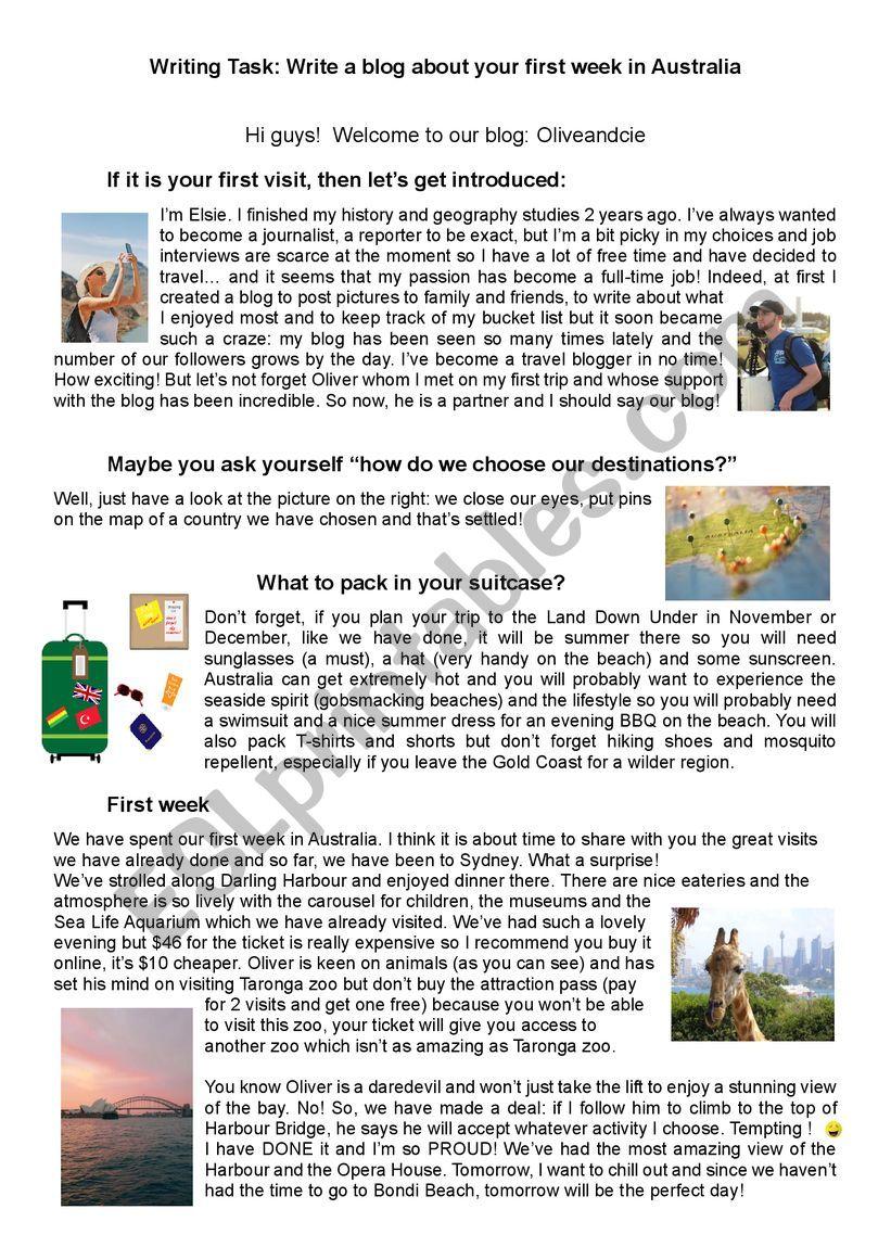 Write a travel blog  worksheet