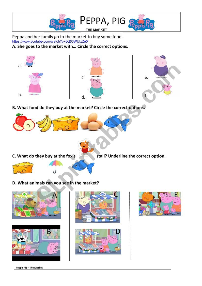 Peppa Pig goes to the market worksheet