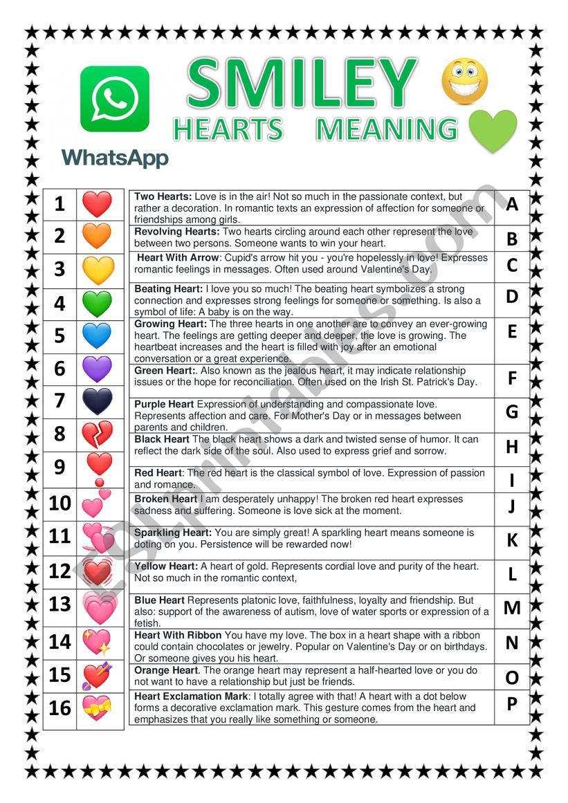 WHATSAPP HEARTS SMILEY  worksheet