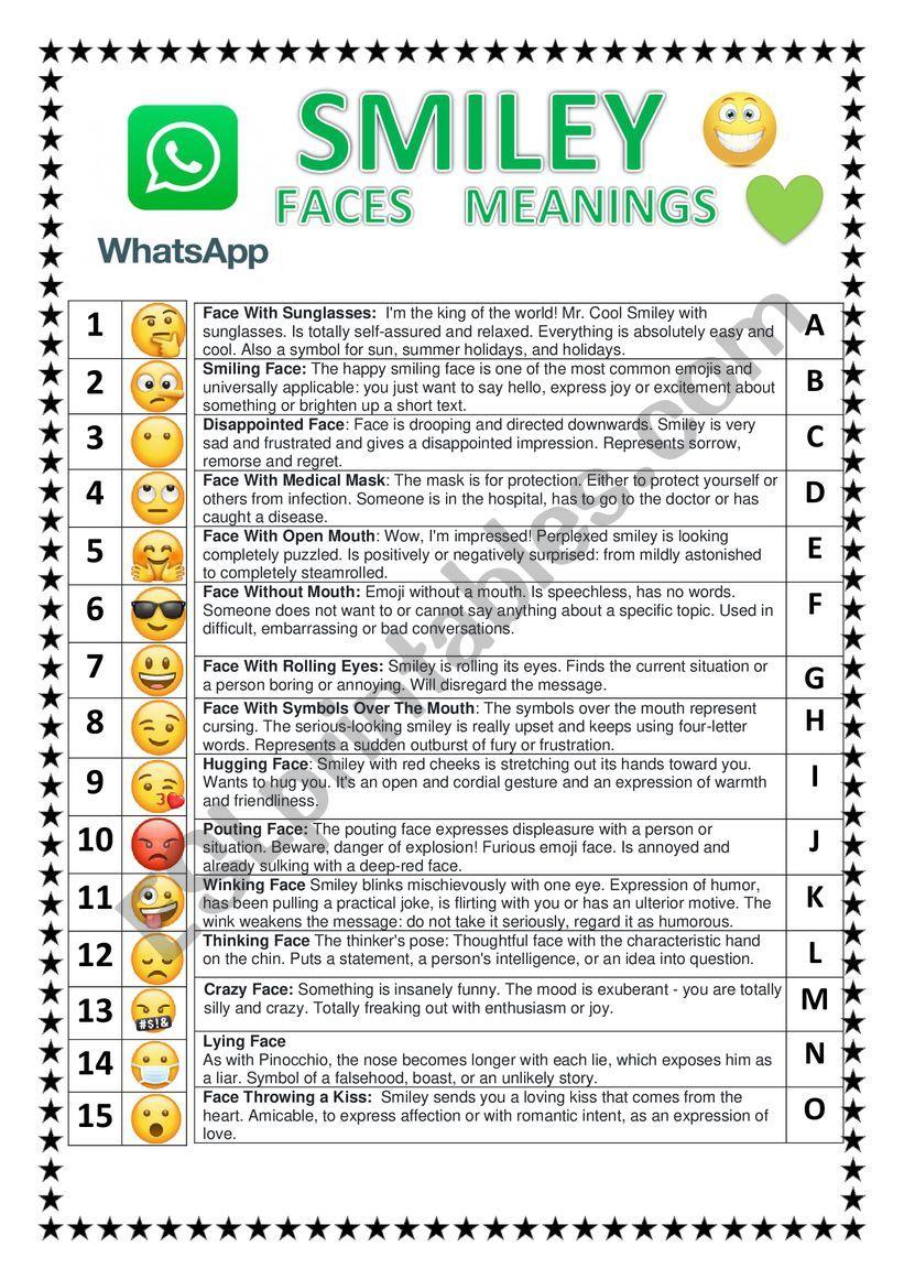 WHATSAPP FACES SMILEY  worksheet