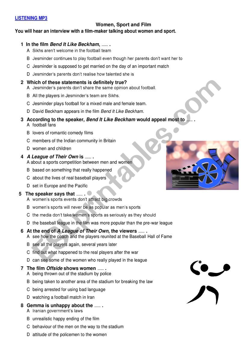 Listening & Reading Test worksheet