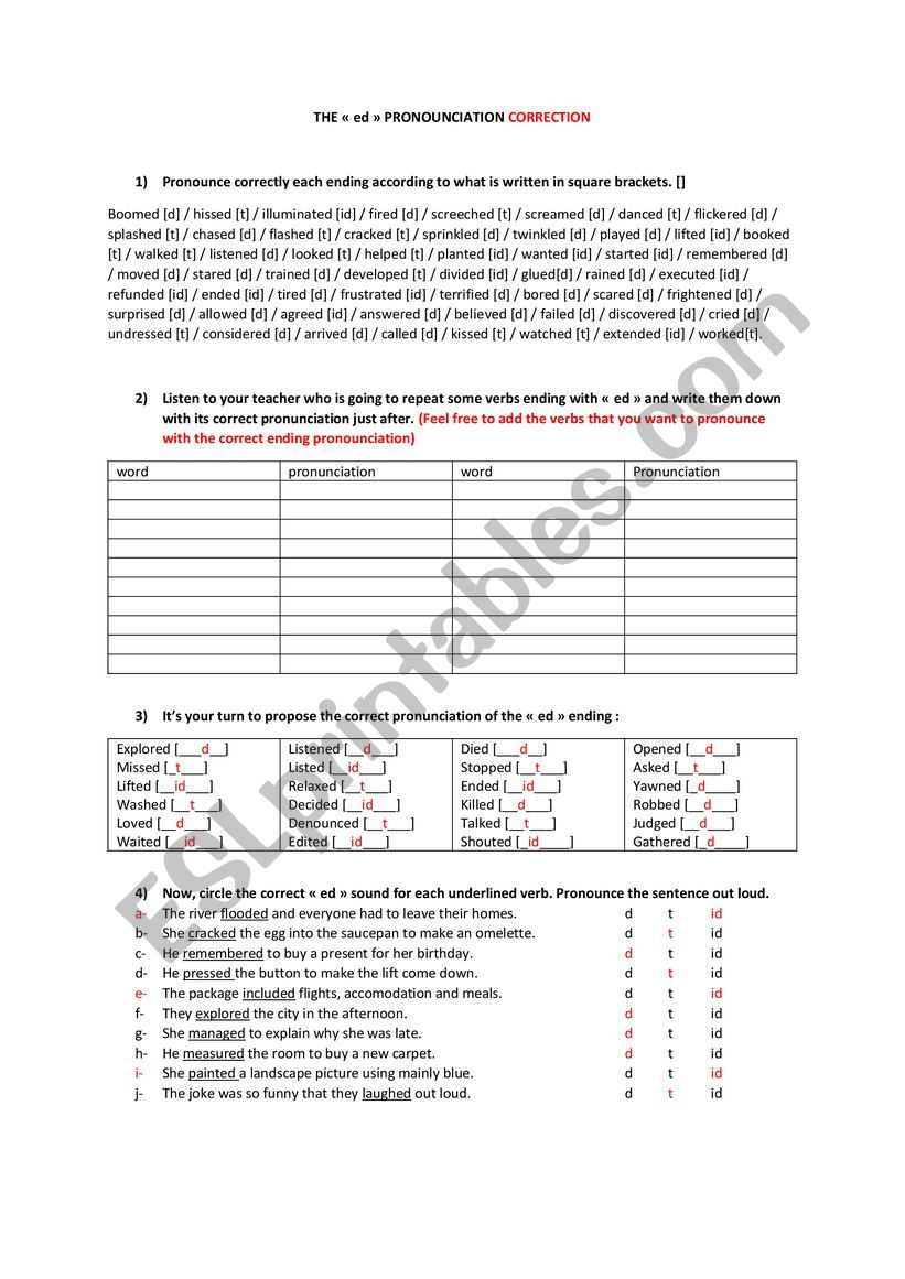 Pronounciation Of The Ed Esl Worksheet By Maevadujet Of course, they incorrectly base this pronunciation on knowledge of the verb form 'pronounce' esl printables