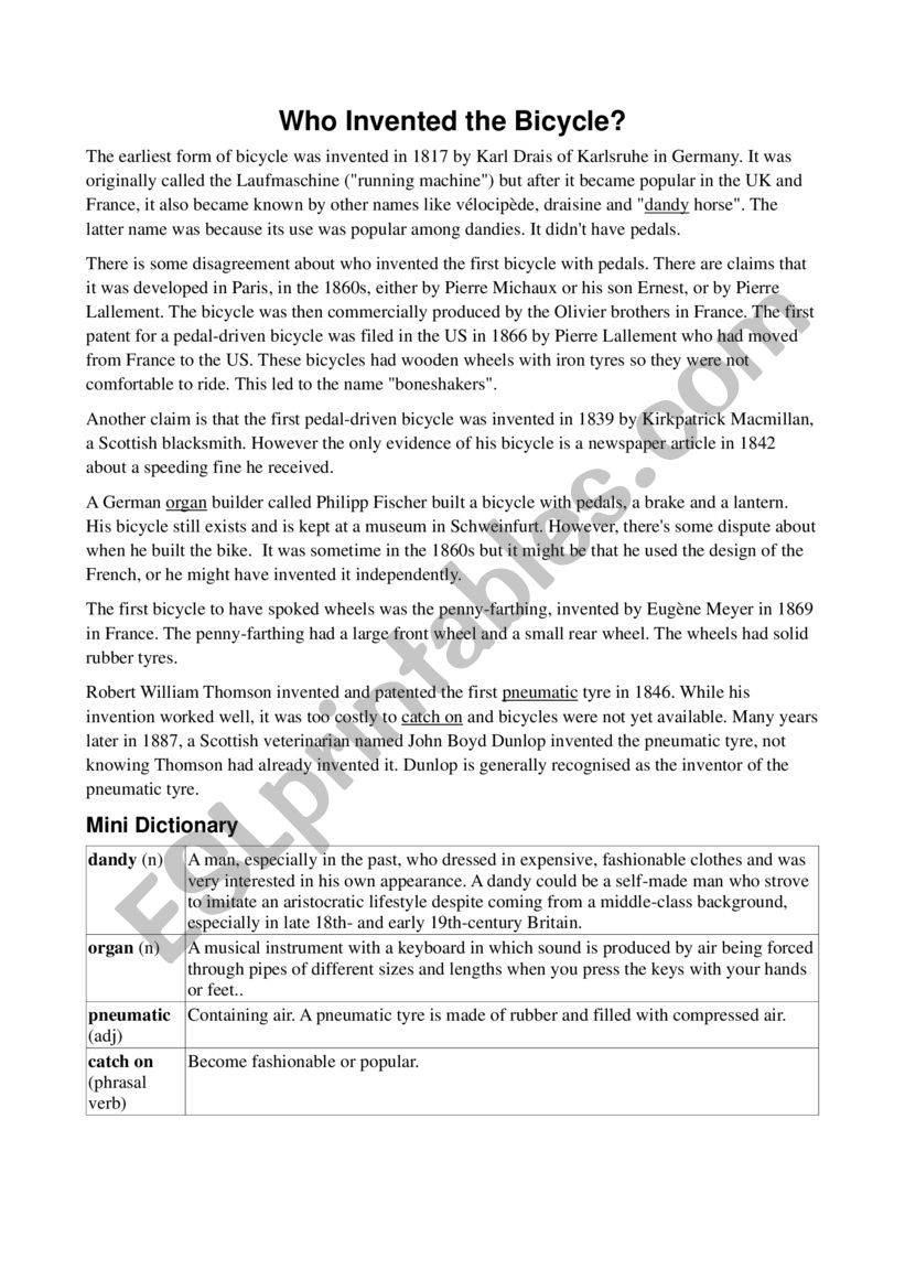 Who Invented the Bicycle? worksheet