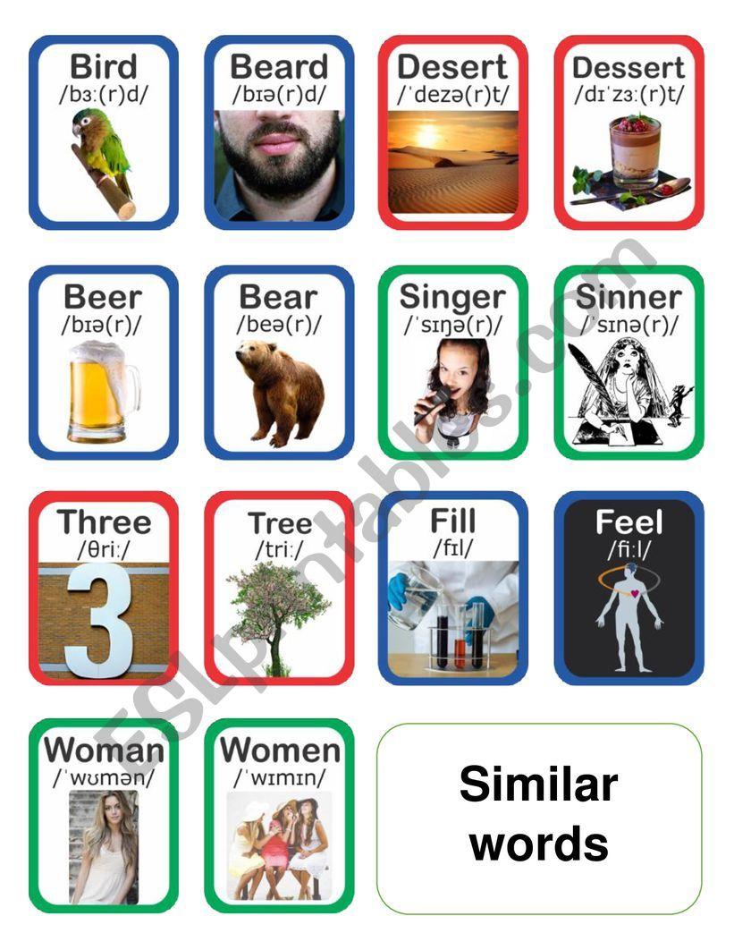 Similar words flashcards worksheet
