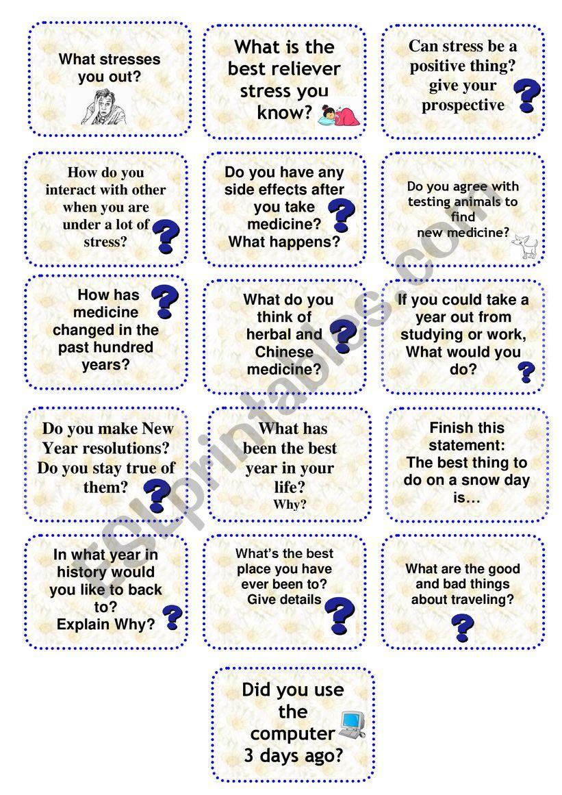 SPEAKING CARDS 2 worksheet