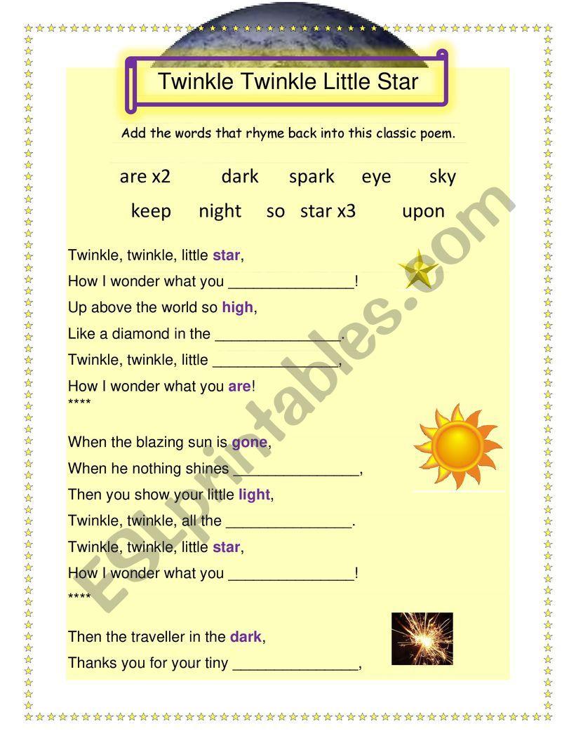 Words with short poem rhyming Short Rhyming