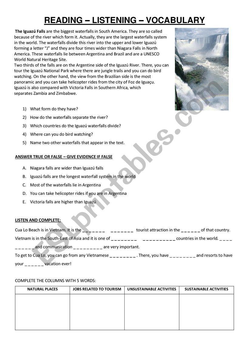 IGUAZÚ WATERFALLS worksheet