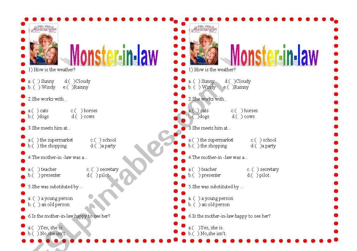 Film activity: Monster in law worksheet