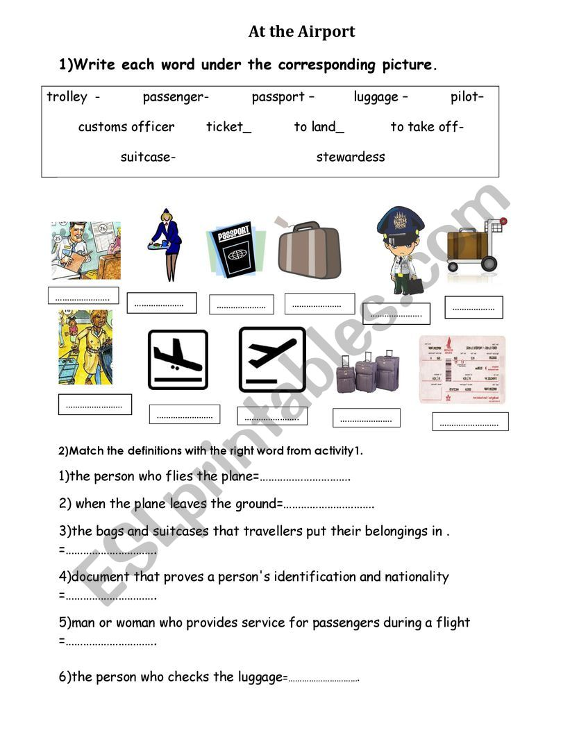 At the Airport Conversation worksheet