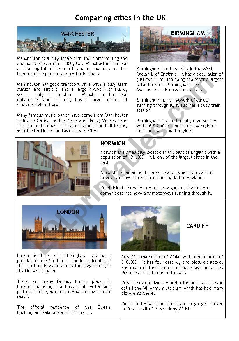 Comparing cities in the Uk worksheet