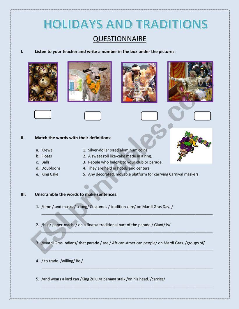Mardi Gras celebration worksheet