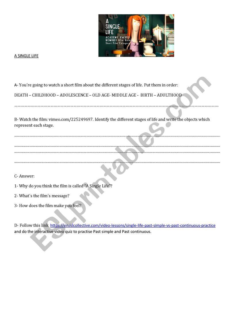 A single life worksheet